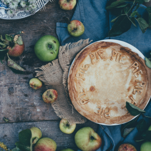 A warm apple pie on a cool, autumn day.